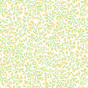 Roseberry Cottage Yellow quilt fabric by Anodver with small yellow and green flowers on a offwhite background