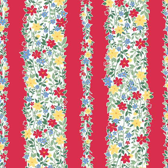 Strawberry Jam Floral Stripe Red