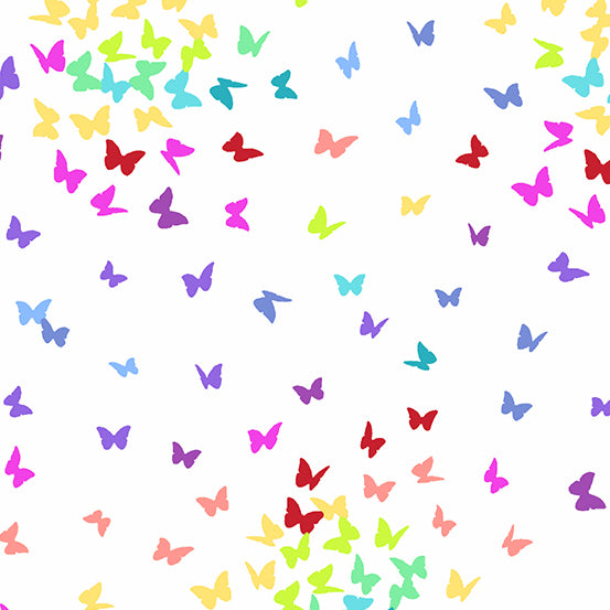 Andover Rainbow Sprinkles Rainbow Butterflies quilt fabric with multi coloured butterfly silhouettes floating over a white background