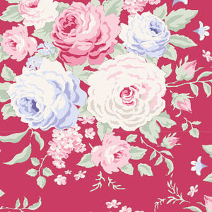 Tilda Old Rose Lydia Raspberry quilt fabric with pink purple and cream roses on a raspberry pink background