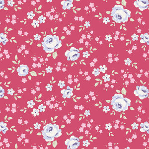 Tilda Old Rose Eliza Raspberry fabric with small roses on a raspberry pink background