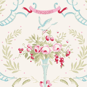 Tilda Old Rose Birdsong Dove White with roses on an ivory background