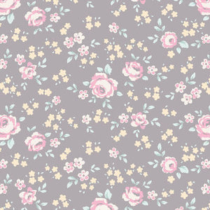 Tilda Old Rose Eliza Grey fabric with pink roses on a grey background