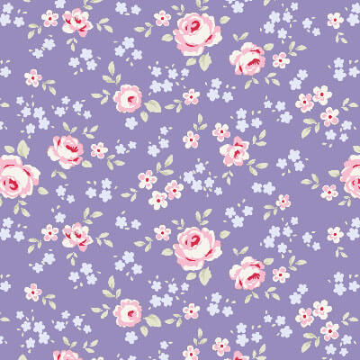 Tilda Old Rose Eliza Blue fabric with pink roses on a purple background
