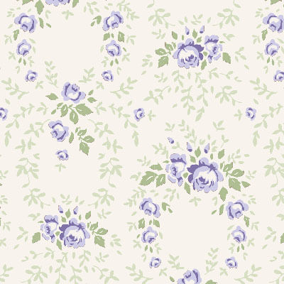 Tilda Old Rose Lucy Blue Rose fabric with purple roses on an ivory background