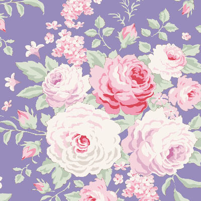 Tilda Old Rose Lydia Blue fabric with pink roses on a purple background