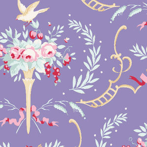 Tilda Old Rose Birdsong Blue fabric with pink roses on a purple background