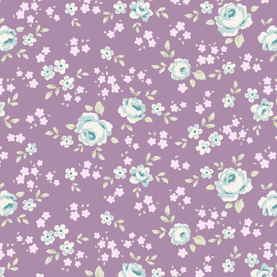 Tilda Old Rose Eliza Mauve Lilac Fabric with small blue roses on a purple background