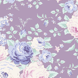 Tilda Old Rose Lydia Lavedner fabric with purple roses on a purple background