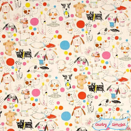 Alexander Henry Monkey's Bizness Puppy Polka Dot Fabric