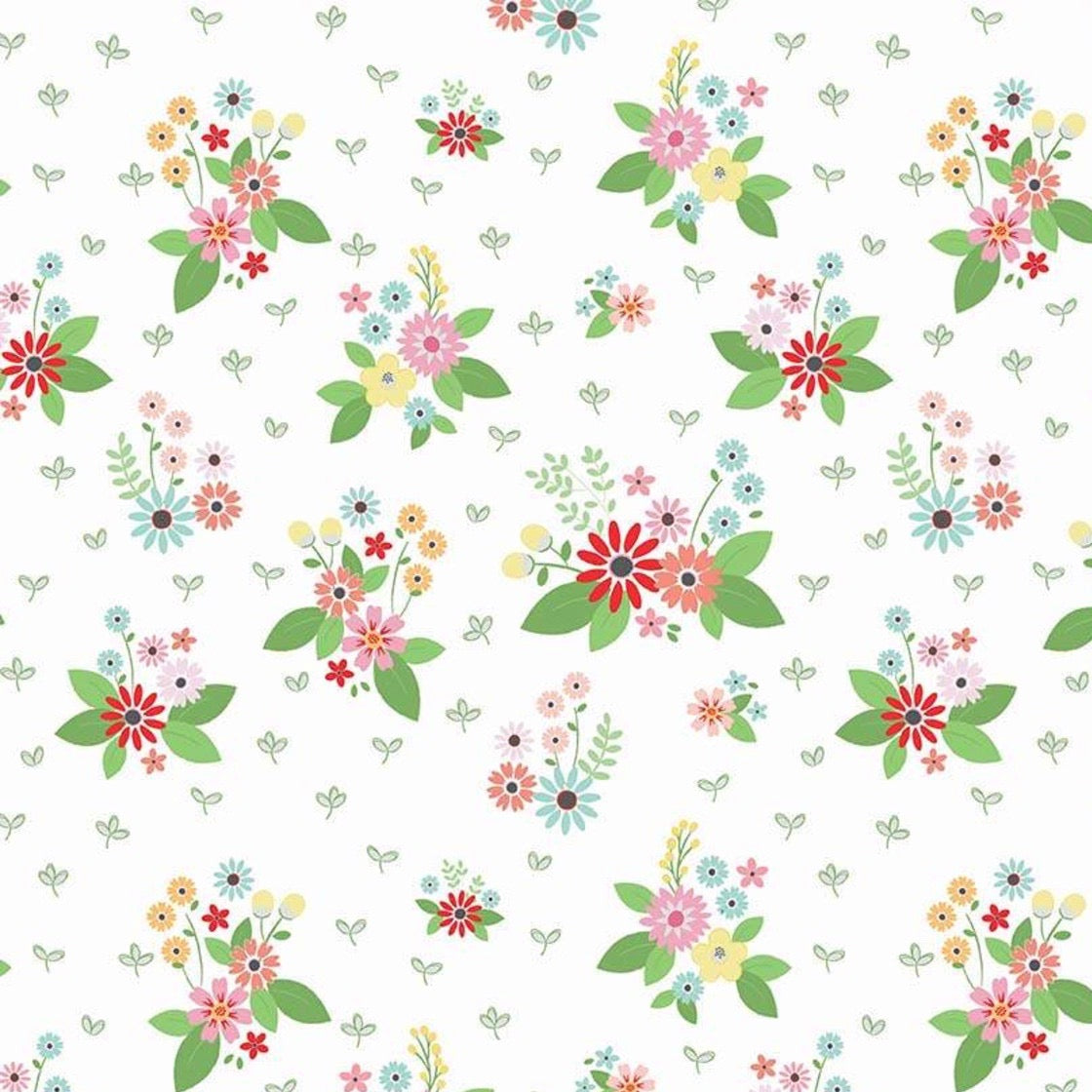 208fcb9c0c Vintage Keepsakes Floral White fabric by Beverly McCullough of Flamingo  Toes for Riley Blake