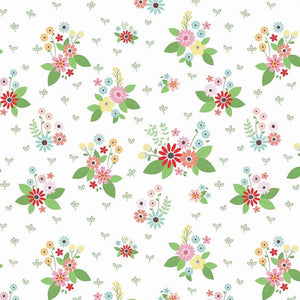 Vintage Keepsakes Floral White fabric by Beverly McCullough of Flamingo Toes for Riley Blake
