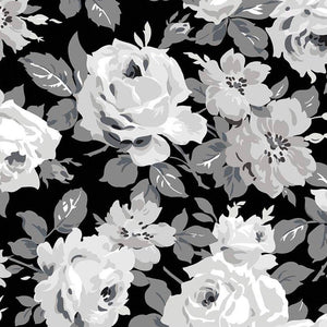Riley Blake Serenity Main Black quilt fabric with beautiful large white and grey roses on a black background
