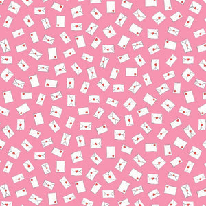 Love Letters Envelopes quilt fabric by Lindsay Wilkes for Riley Blake Designs with small white envelopes on a pink background