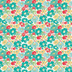 Vintage Happy 2 Main Vivid quilt fabric by Lori Holt for Riley Blake Designs with small teal, red and yellow vintage inspired flowers