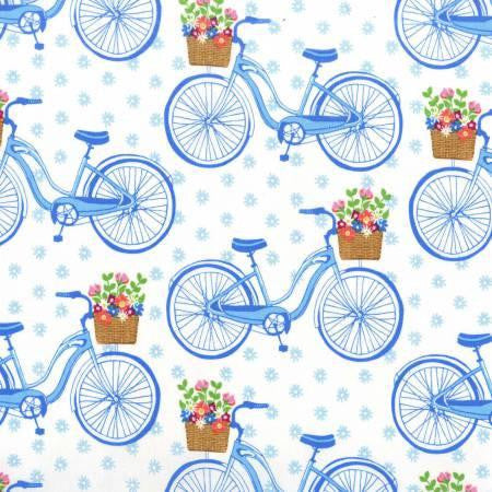 Saturday Morning Farmers Market Sky Bikes quilt fabric by Michael Miller Designs
