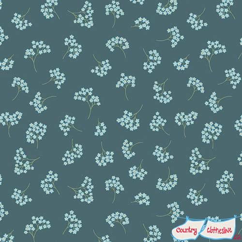 Flo's Wildflowers Forget me nots on Teal fabric by Lewis & Irene