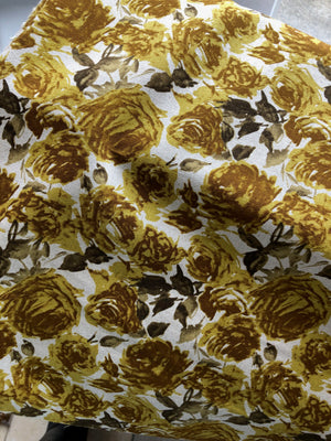 Gold Roses on Cotton Linen Canvas