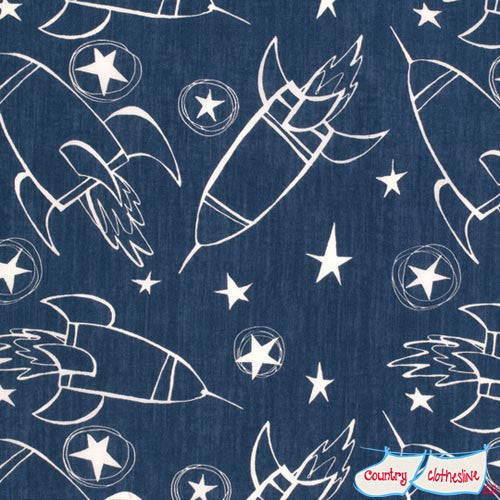 Jeans & Things Spaceships Quilt Fabric by David Walker for Freespirit
