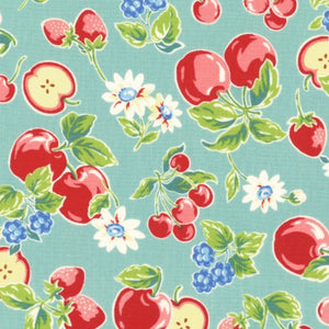 Orchard Kitchen Teal fabric by lecien