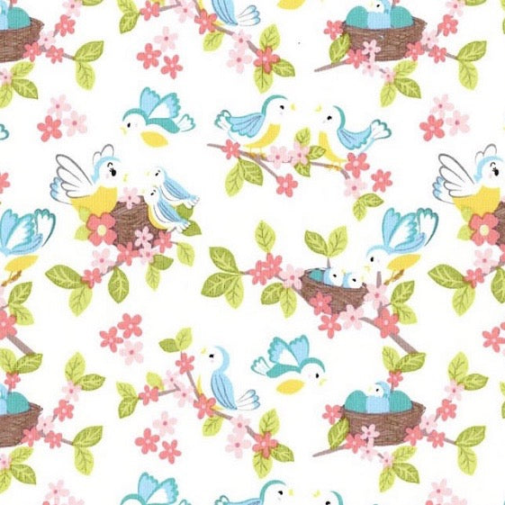 So Darling Bluebirds on Cream fabric by Lewis and Irene