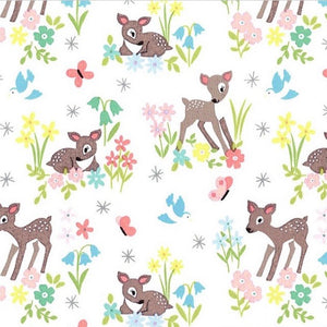 So Darling Little Deer on Cream fabric by Lewis and Irene