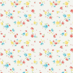 Bunnies & Blossoms cream fabric by Laura Nash for Penny rose fabrics