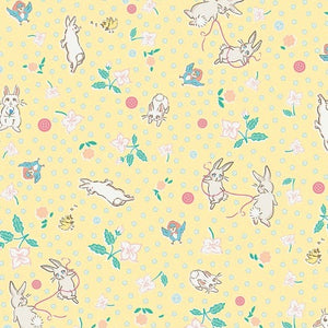 Bunnies & Blossoms yellow fabric by Laura Nash for Penny rose fabrics