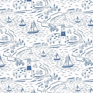 Old Harry Rocks fabric with blue sailboats and lighthourses on a white background for Lewis & Irene