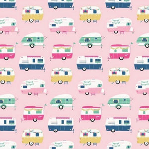 I'd Rather be Glamping fabric with vintage campers on a pink background for Riley Blake