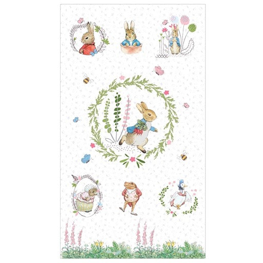 Peter Rabbit Digital Panel with all the characters on a white background