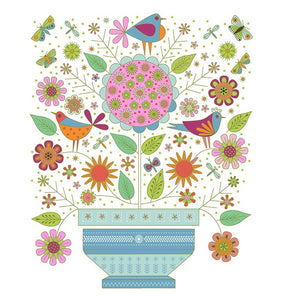 Summer Sampler Flowerpot Panel White