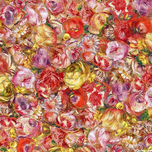 Pierre Auguste Renoir Flower Digital Print fabric with red and yellow blossoms