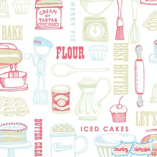 Buttercream Kitchen Quilt Fabric by Louise Anglicas for Clothworks