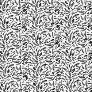 Riley Blake Juniper Leaves fabric in black and white