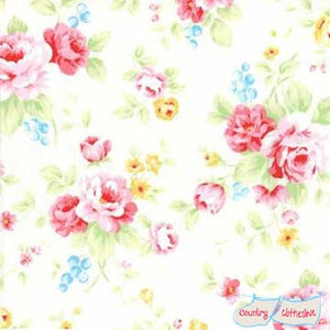 Lecien Antique Flower Sugar in Pastel White Floral quilt fabric