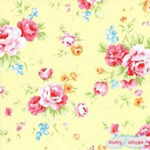Lecien Antique Flower Sugar in Pastel Yellow Floral quilt fabric