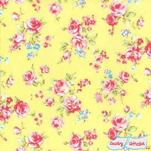 Lecien Antique Flower Pastel Dotted Roses on Yellow