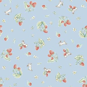 Bunnies & Cream Strawberry Blue fabric