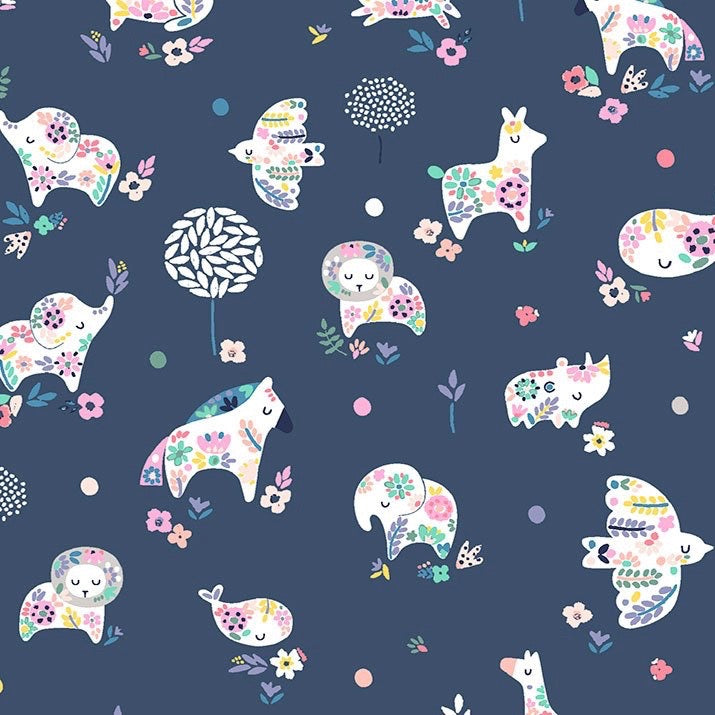 No Probllama Navy Fabric by Dear Stella