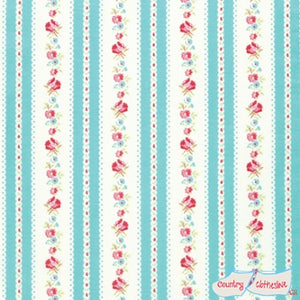 Quilt Fabric - Lola Blue Garden Ticking