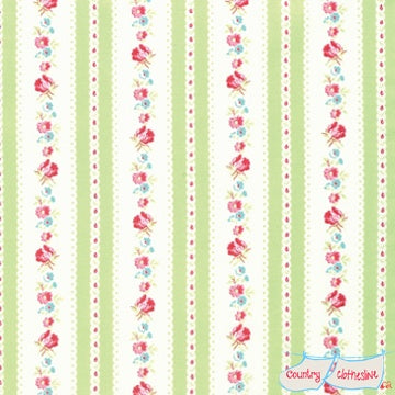 Quilt Fabric - Lola Green Garden Ticking