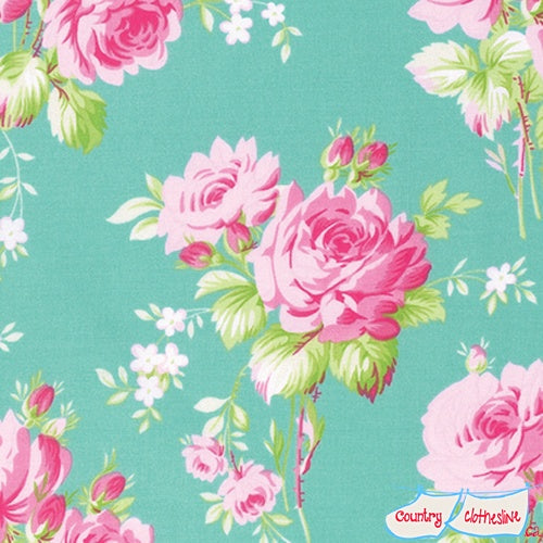 Quilt Fabric - Rose Bouquet Jade