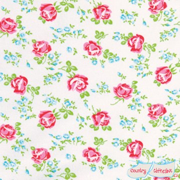 Quilt Fabric - Scattered Roses On White