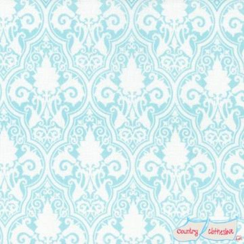 Quilt Fabric - Sunshine Roses Blue Damask