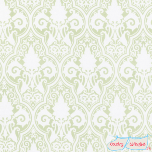 Quilt Fabric - Sunshine Roses Green Damask