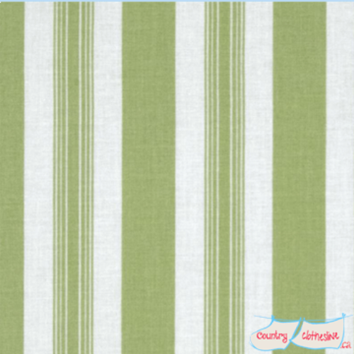 Quilt Fabric - Sunshine Roses Green Stripes