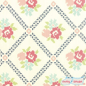 Quilt Fabric - Vintage Picnic Mayberry Cream Navy