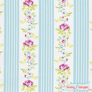 Quilt Fabric - Zoey's Garden Blue Stripe
