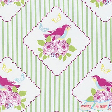 Quilt Fabric - Zoey's Garden Green Framed Bird